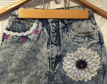 Retro/ Vintage/ Distressed Denim One of a Kind Shorts by Rio/Size 7