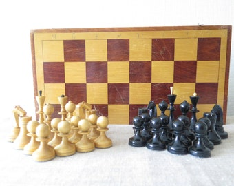 Complete Chess Set USSR Soviet Era Wood Chess, Large Chess Board: 40 x 40 cm / 15,7 x 15,7 inch, Board Game 70s Retro Russian Chess @239-10