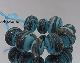 Turquoise Storm, Artisan Lampwork Glass Beads, SRA, UK