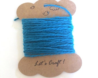jute twine - 5 meters or 5.4 yards - craft gift wrapping twine - color hemp string - tag string - jute rope - burlap string - blue color