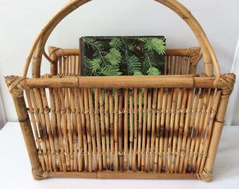 woven bamboo magazine rack / Boho