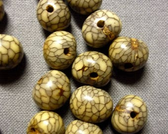 lot 6 seeds gray beige striped Black 10mm beads