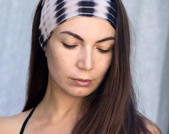 Tie Dye Headband. Soft Headband. Black and Beige Hair Wrap Wide Yoga Headband. Boho Fashion