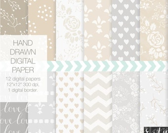 SALE Gray, taupe digital paper with fleur de lis, floral wreaths, heart, flower patterns for weddings. Gray and sand.