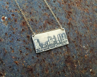 Columbus Ohio skyline necklace   Columbus skyline pendant in copper or brass   jewelry for her