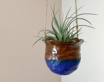 Blue and Brown handmade stoneware ceramic hanging plant pot