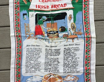 Vintage Traditional Irish Bread Recipe Tea Towel