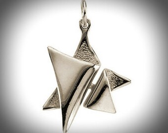 Artistic Artisan Design Solid 14k White Gold Star of David Pendant for Necklace