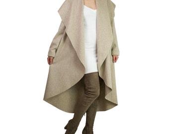 Wool cashmere coat/ Beige wool coat/ Plus size wool coat/ Long wool coat/ Winter coat/ Wrap cardigan/ Plus size coat/ 3xl wool coat ANGELA