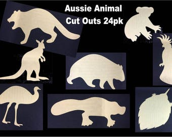 24pk Aussie Animal cut outs - 8 different designs - realistic designs