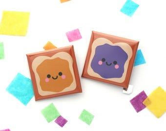 Peanut Butter and Jelly Sandwich Badges, Square 38mm Button Badge, Best Friends Gift