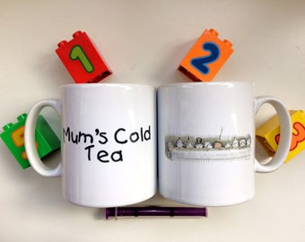 Funny Mug for Mothers, Double-sided Mug 'Mum's Cold Tea' & Picture of Cheeky Children, Mother's Day Gift, Mommy Gift
