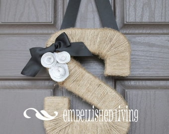 Custom Monogram wreath.  Farmhouse Style Jute Letter.