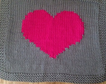Chunky knit heart baby blanket- You choose colors!
