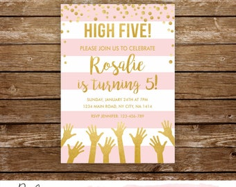 High five birthday invitation 5th birthday party printable 5th birthday invite fifth birthday girl 5th birthday invitation pink and gold 251