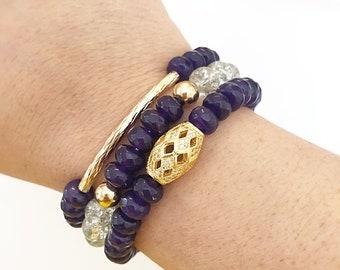VIOLET | Beaded Bracelet Set, Amethyst Bracelet, Bead Bracelet Set, Beaded Bracelet Stack, Amethyst Jewelry, Boho Bracelets, Bead Bracelets