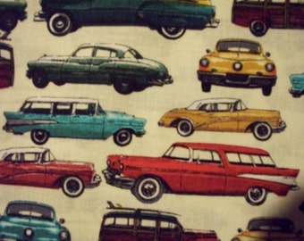 Retro Cars 1950s Vehicles Cotton Fabric Fat Quarter Or Custom Listing
