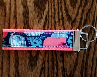 Blue and Pink Floral Key Fob Wristlet, Catholic Teen Easter Basket Gift, College Student Key Chain,