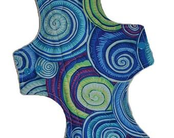 Super Core- Swirly Shells Reusable Cloth Goddess XL/Postpartum Pad- WindPro Fleece- 16.5 Inches