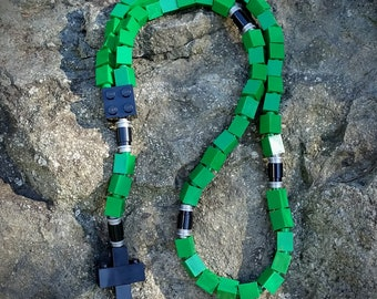 The Original MementoMoose Rosary Made with Lego Bricks - Green, Black and Gray Catholic Rosary