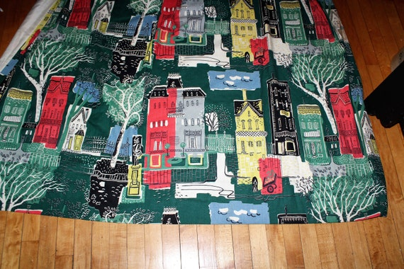 Vintage 1950s Barkcloth Fabric Mid Century Cityscape 80 x 64 Inches