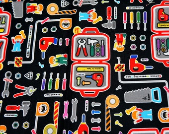Push Pin print Tools print Fabric for boys Fat Quarter 19.6 by 21 inches nc23