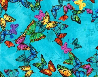 Pavilion - Floating Butterflies-TIMELESS TREASURES- Cotton Fabric- Quilt- Butterfly -Apparel-WindyRobinCotton- *Sold in Half Yard.