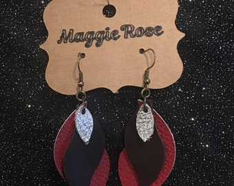Red, brown, and silver leather earrings