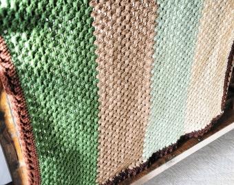 Crocheted Baby Blanket, Woodland Nursery Blanket