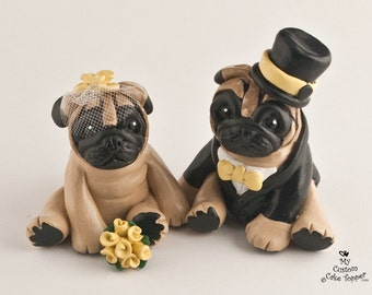 Pug Dog Wedding Cake Topper