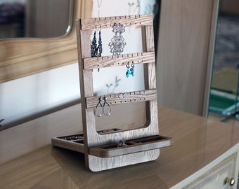 Earring holder (jewelry organizer). Oak jewelry stand - gift for her.