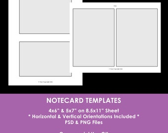 Notecard Photoshop Templates - 4 x 6 inch -5 x 7 inch - Digital Collage Sheet Layered Template - psd - png - DIY Party Template - Commercial