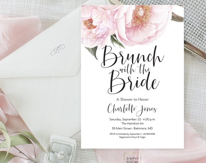 Pink Floral Greenery Brunch Bridal Shower Invitation - Garden Shower - Baby Shower Invitation - Peony Blush Invitation Watercolor Printable