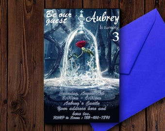 Beauty and the Beast Invitations/Beauty and the Beast Birthday Invitations/Beauty and the Beast Birthday/Beauty and the Beast Invites