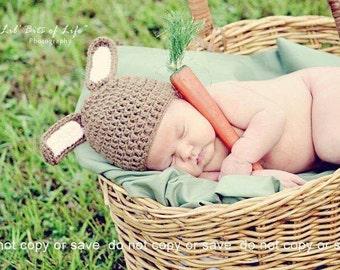 Newborn Bunny Hat, bunny hat, baby bunny hat, Baby Girl Hat, ready to ship, crochet, handmade, Baby boy hat, rabbit hat, animal hat