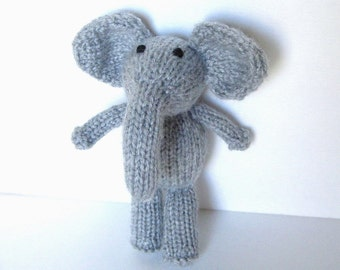 Hand Knit Little Gray Elephant, Wildlife Stuffed Animal Newborn Photo Prop, Boy Girl Newborn Infant Jungle Zoo Nursery Toy, Soft Plush Doll