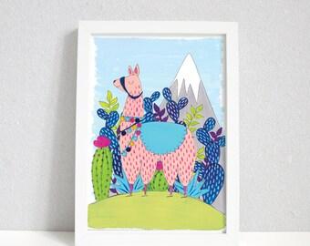 Llama on a Mountain | Llama print | Cute Illustration | Llama wall art | A4 & A5 Prints | llama Prints | llama Gifts