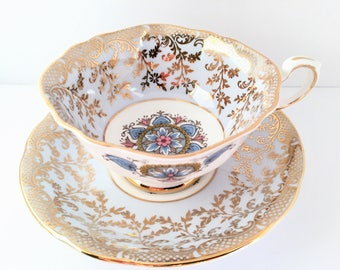 Paragon Blue with Gold Filigree Tea Cup and Saucer, Blue and Pink Medallion, Collectible