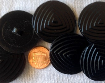 "Lot of 6 Shiny Tiered Large Black Plastic Shank Coat Buttons 1 3/8"" 35mm # 7592"
