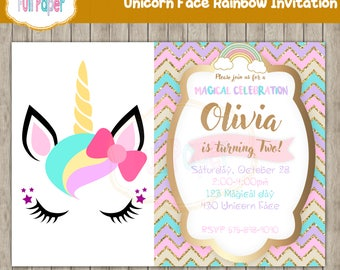 Unicorn face rainbow Invitation, Unicorn Party, Unicorn Invitation, Rainbow Invitation, Gold, Magical day, Birthday Girl, Baby shower Invite
