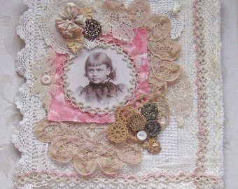 Shabby Chic Mixed Media Wall Hanging/Collage - Antique and Vintage Trims