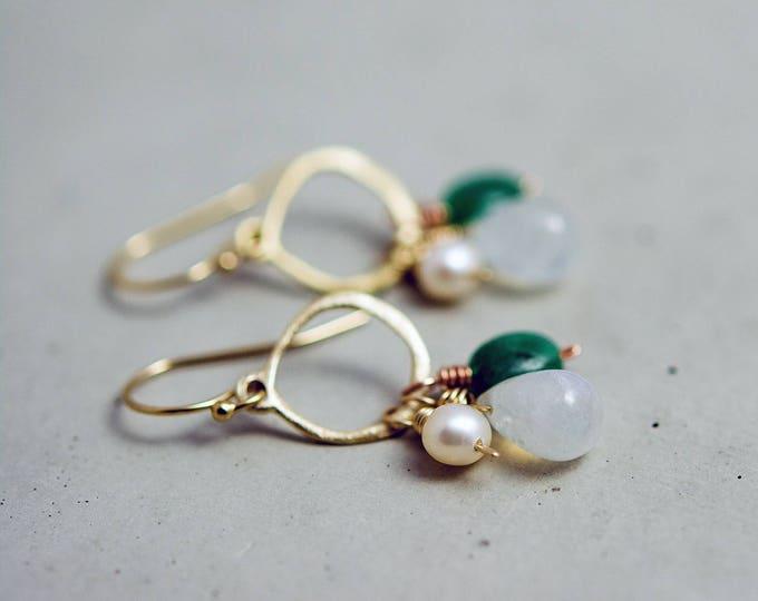 Moonstone Earrings, Gold Jewelry, Emerald Birthstone, Drop Earrings Dangle Earrings, May Birthstone, Birthstone Jewelry, Green Gemstone