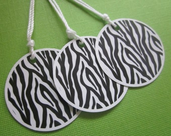 ZEBRA PRINT round gift tags / favor tags / set of 8