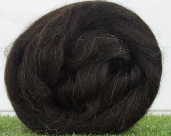 Undyed Black Superwash Icelandic Wool Combed Top/Roving by the Ounce or by the Pound