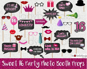 Sweet 16 photo booth props. Printable. DIY Sweet sixteen party props for pictures. Instant download. PDF Digital file. High resolution.
