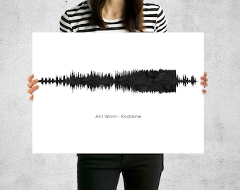 Soundwave art print song lyrics print birthday gift first dance print custom sound wave