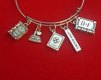 Silver Book Lover Themed Charm Bracelet