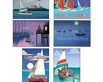 Sail Boat Christmas Card Variety Pack - 24 Cards & Envelopes - 87