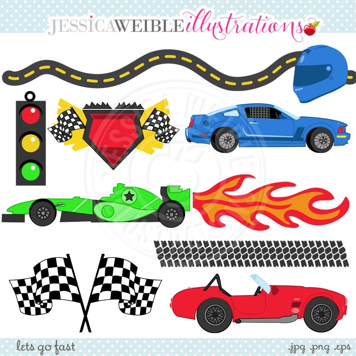 lets go fast cute digital clipart commercial use ok racing. Black Bedroom Furniture Sets. Home Design Ideas