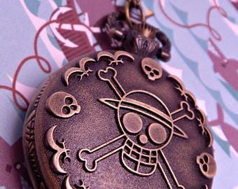 Steampunk Brass Skull and Crossbone Pirate Skeleton Pocket Watch with 28 Inch Brass Chain